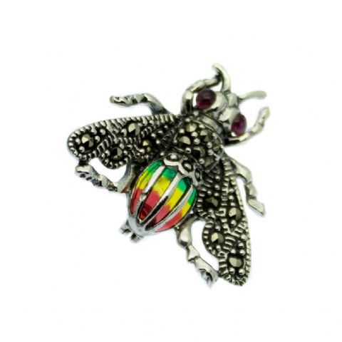 Marcasite & Enamel Bee Brooch Sterling Silver with Rubies
